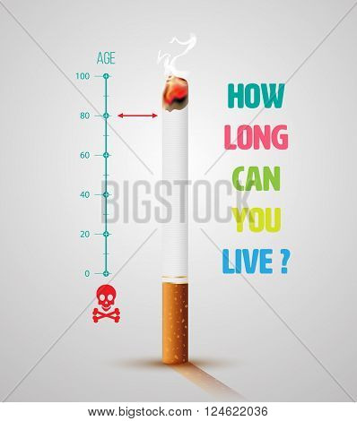 World No Tobacco Day Banner With Cigarette and Message. Stop smoking idea concept, Life ends loading.