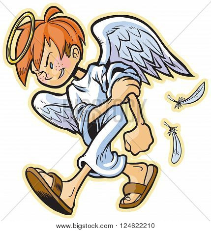 Cartoon clip art illustration of a scrappy angel mascot with red hair headed for a fight! Something evil is gonna get a beat-down! If you would prefer a different hair color it is easily changed in the vector file and the freckles are removable.