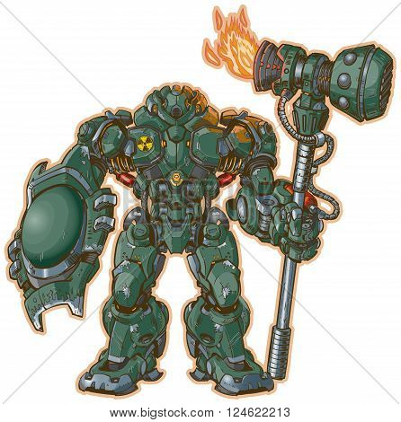 A vector illustration of a robot warrior with a shield and hammer standing at the ready. The Hammer has a rocket engine to increse the force of its blows!
