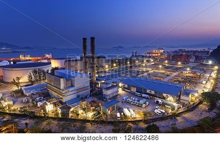 petrochemical industrial plant at night , Coal power station at Hong Kong