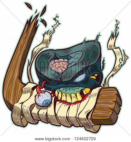 Vector cartoon clip art of a zombie hockey puck biting a broken hockey stick! Color elements are in a seperate layer in the vector illustration for easy customization.