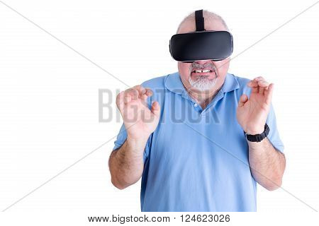 Squeamish Man In Blue Against A White Background