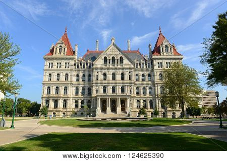New York State Capitol, Albany, New York, USA. This building was built with Romanesque Revival and Neo-Renaissance style in 1867. poster