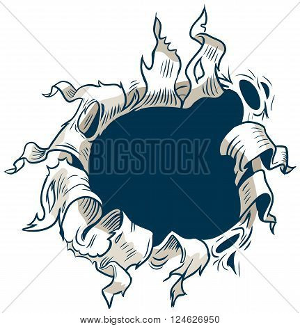 This vector clip art is designed to appear as though something behind the background is ripping through to the other side.