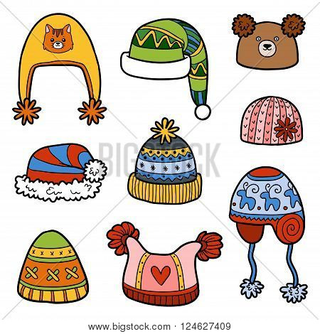 Vector Set Of Different Winter Hats With Animals And Geometric Patterns