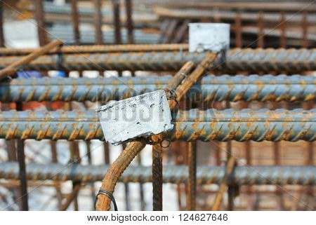 JOHOR, MALAYSIA -SEPTEMBER 19, 2015: Hot rolled deformed steel bars or steel reinforcement bar. The reinforcement bar is part of building structure function to strengthen the concrete.
