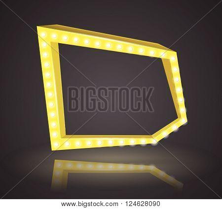 Shining retro square banner yellow frame art illustration
