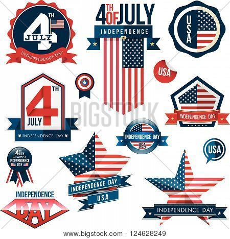Badge and label set, independence day, vector illustration