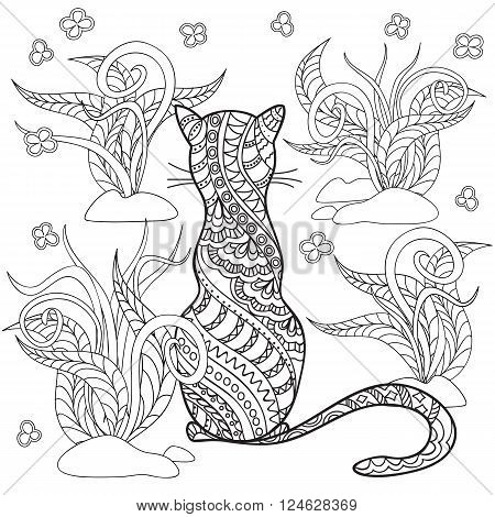 Hand drawn decorated cartoon cat in boho style. Pencil drawing. Image for adult or children coloring book page. Vector illustration - eps 10.