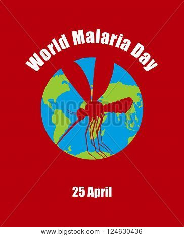World Malaria Day. Poster For International Holiday Of April 25. Planet Earth And Silhouette Of Mala