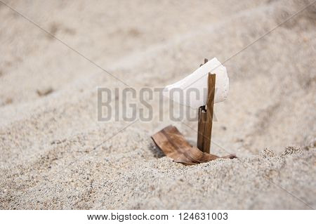 Odd job from a piece of wood and seashells in the sand on a summer day