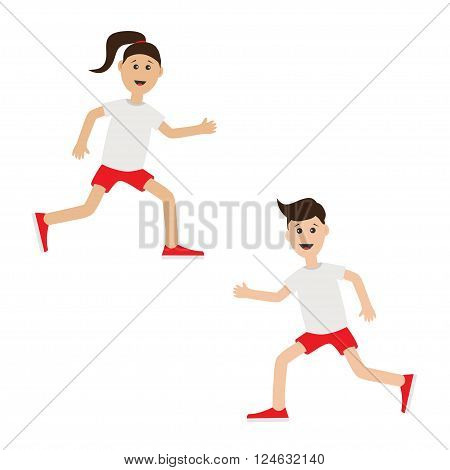Funny cartoon running girl and boy Cute run woman man. Jogging lady Runner couple Fitness workout running male female character Isolated White background. Flat design Vector illustration