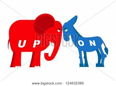 Red Elephant And Blue Donkey Symbols Of Political Parties In America. Democrats Against Republicans.