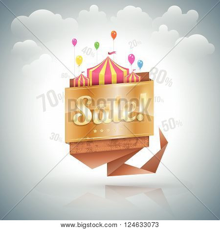 Sale banner origami gold. Vector illustration. Can use for promotion.
