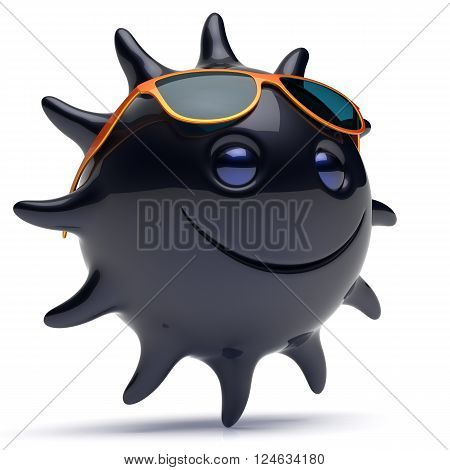 Black star face smiley sun sunglasses cheerful summer smile cartoon ball emoticon happy sunny joke negative person icon. Smiling laughing character holiday chilling sunbathing ebony avatar. 3D render