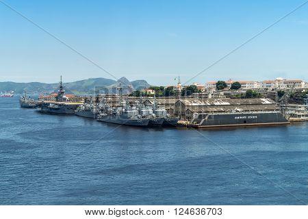 Rio de Janeiro, Brazil - December 20, 2012: Brazilian Navy warships anchored in the Port of Rio de Janeiro, Brazil.