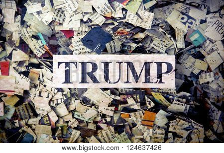 political words on Newspaper confetti