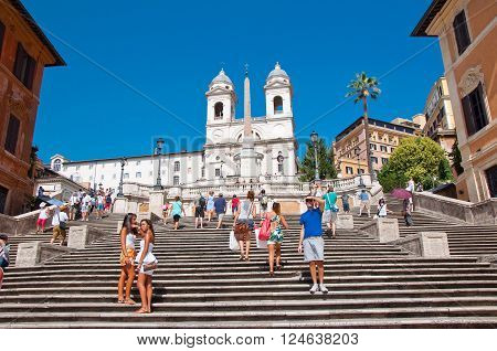 ROME-AUGUST 7: The Spanish Steps seen from Piazza di Spagna on August 7 2013 in Rome Italy. The Spanish Steps are steps between the Piazza di Spagna and the Trinità dei Monti church at the top.