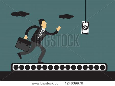 Business professional running on conveyor belt with a dollar note bait dangling in front of him. Vector cartoon illustration on human rat race concept.