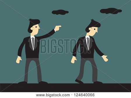 Vector illustration of businessman pointing with finger giving direction to another businessman.