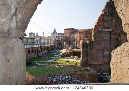 The view of the Trajan forum with the Trajan's Column. Rome Italy.