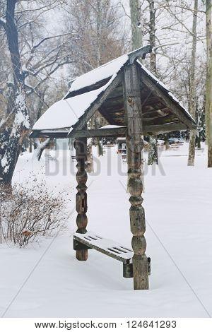 Summerhouse in winter park