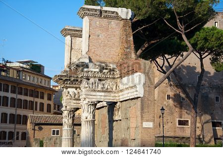 Remains of the peristyle of the Temple of Minerva. Trajan's Forum Rome Italy.