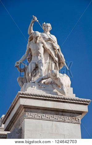 Detail of the Altare della Patria. Rome. poster