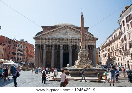 ROME-AUGUST 6: The Fontana del Pantheon on August 6 2013 in Rome Italy. The Pantheon is a building in Rome Italy to all the gods of ancient Rome rebuilt by the emperor Hadrian about 126 AD.