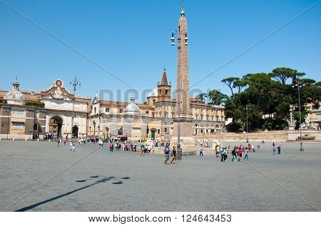 ROME-AUGUST 6: Piazza del Popolo on August 6 2013 in Rome Italy.Piazza del Popolo is a large urban square in Rome.