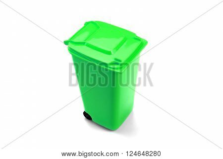 Green Plastic Waste Container Or Wheelie Bin, Isolated On White