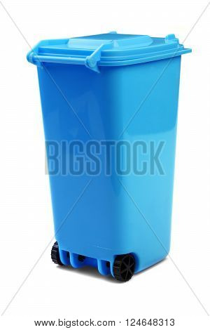 Blue Plastic Waste Container Or Wheelie Bin, Isolated On White