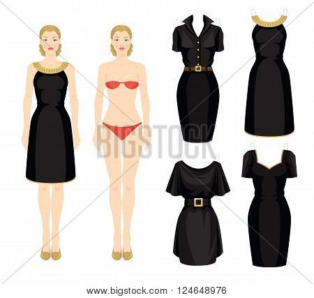 Doll with clothes. Body template. Set of template paper little black dress. Woman in black dress with a gold ribbon.