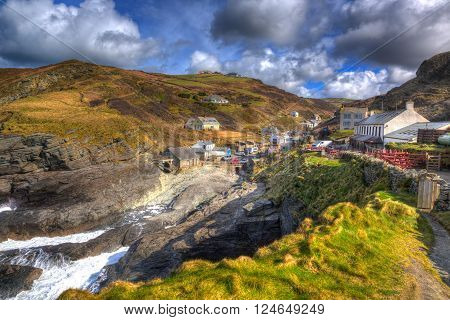 Trebarwith Strand Cornwall England UK coastal village between Tintagel and Port Isaac in colourful HDR