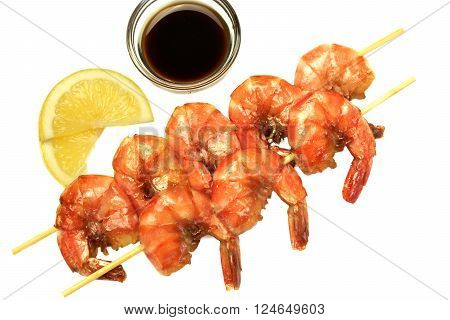 Grilled Shrimps On Wooden Skewer Lemon And Sauce White Isolated