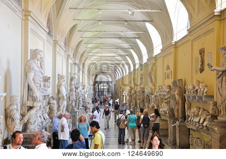VATICAN - JULY 20: Galleria delle Statue on July 20 2010 in Vatican Museum. The Vatican Museums are the museums of the Vatican City and are located within the city's boundaries.