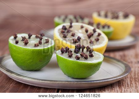 Lemon and limes with cloves natural insect repellent. Shallow dof poster