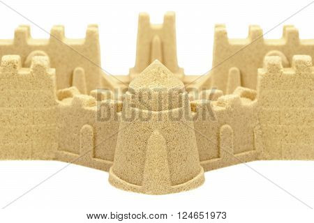 Sandcastle Wall And Towers Isolated On White Background