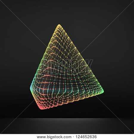 Pyramid. Regular Tetrahedron. Platonic Solid. Regular, Convex Polyhedron. 3D Connection Structure. Lattice Geometric Element for Design. Molecular Grid. Wireframe Mesh Polygonal Element.