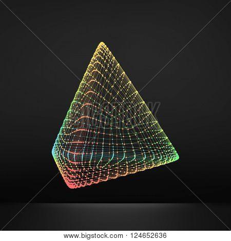 Pyramid. Regular Tetrahedron. Platonic Solid. Regular, Convex Polyhedron. 3D Connection Structure. Lattice Geometric Element for Design. Molecular Grid. Wireframe Mesh Polygonal Element.  poster