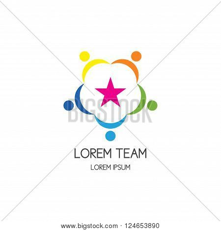 Logo of community of motivated colorful people around star. Vector circle icon of team work and team building. Vector template.