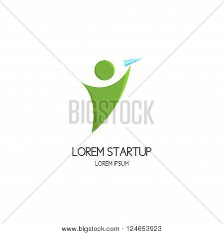 Logo of startup with person launch paper plane. Vector motivated person reaches to plane. Vector template.