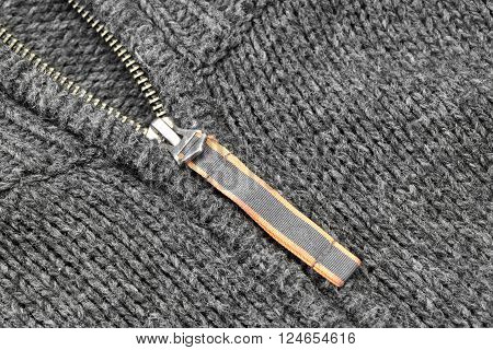 Grey Knitted Sweater With Silver Metal Zipper