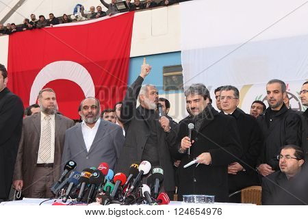ISTANBUL, TURKEY - JANUARY 2, 2012: Ismail Haniyeh, prime minister of the Palestinian administration in Gaza, visited Mavi Marmara ship on January 2, 2012,Istanbul, Turkey.