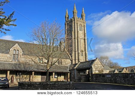 St Pancras church and market place in Widecombe