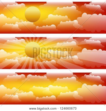 The sky with clouds and sunrays. Three vector strips.
