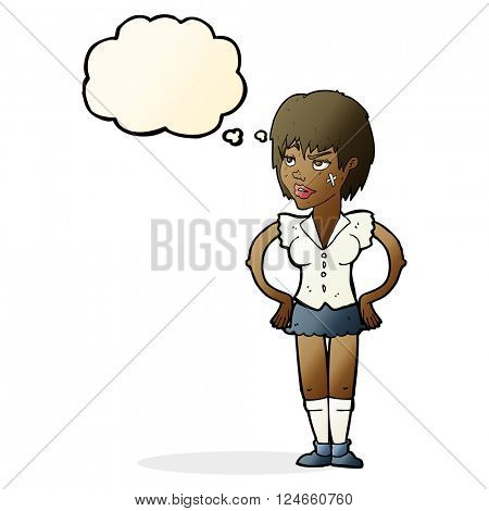 cartoon tough woman with hands on hips with thought bubble