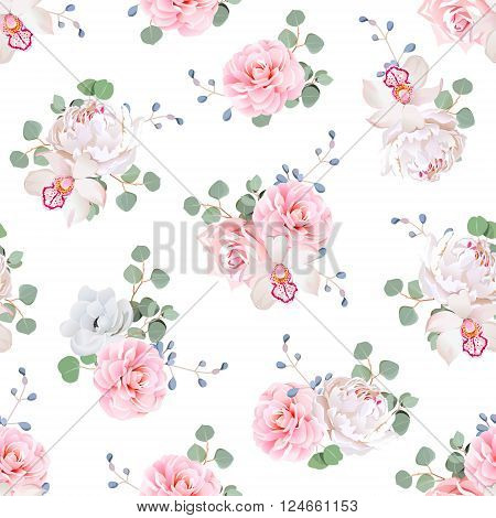 Small wedding bouquets of rose peony camellia orchid anemone camellia blue berries and eucaliptis leaves. Seamless vector print on white background.