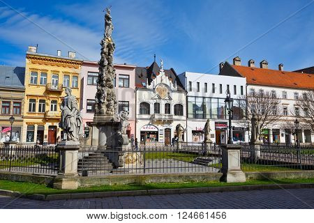 KOSICE, SLOVAKIA- MARCH 19, 2016: Immaculata statue in the main square of Kosice city in eastern Slovakia on  March 19, 2016.