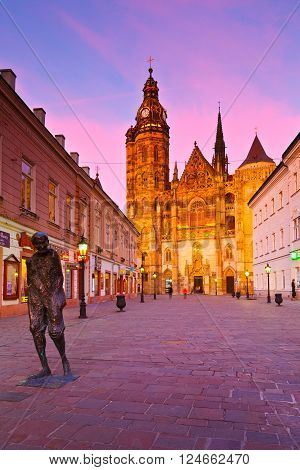 KOSICE, SLOVAKIA - MARCH 19, 2016: St. Elisabeth cathedral and a statue in the centre of Kosice city in eastern Slovakia on March 19, 2016.